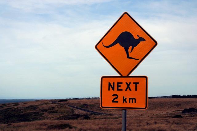 Backpacking in Australien Känguru Verkehrschild